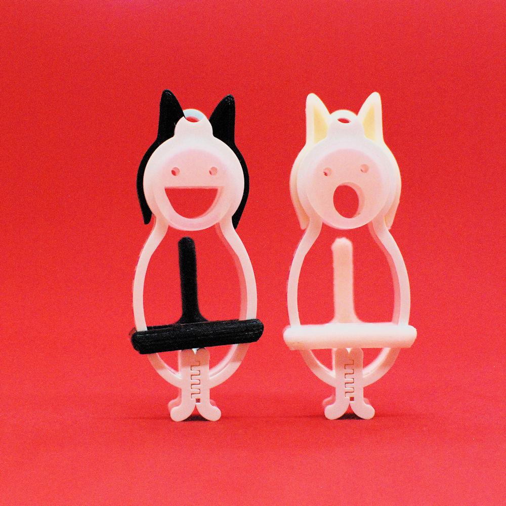 てるてるクリップ 黒猫と白猫